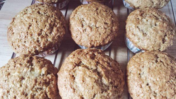 Moist banana coconut oatmeal muffin
